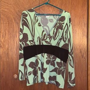 Rebound brown and green blouse, size 1X